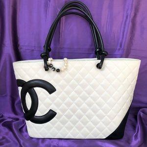Chanel Cambon Tote White and Black